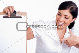 American business woman Pointing blank Clip board