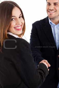 Business women welcomed by her colleague women on focus