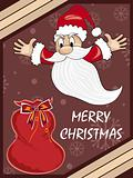 background with santa, gift bag