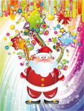 Santa Claus Background with Colorful Fantasy Elements