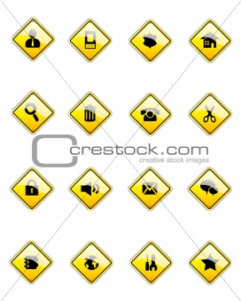 black icons on yellow signs