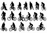 Silhouettes cyclists