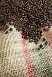 Coffee beans on canvas sack