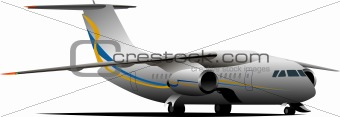 Airplane on the airfield . Vector illustration for designers