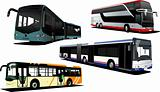 Four city buses. Vector illustration