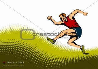 Abstract background with  running man image. Vector illustration