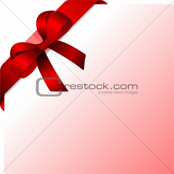 Page corner with red ribbon and bow with place for text. Vector.