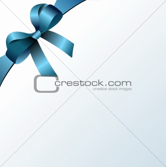 Page corner with blue  ribbon and bow with place for text. Vecto