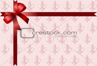 Page corner with red  ribbon and bow on royal lily pink backgrou