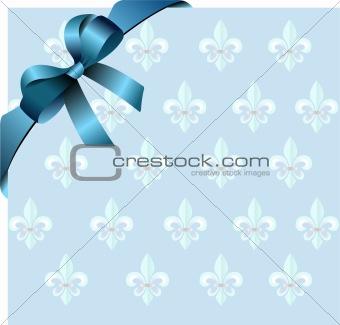 Page corner with blue  ribbon and bow on royal lily background.