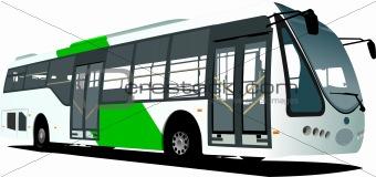 City blue bus. Tourist coach. Vector illustration