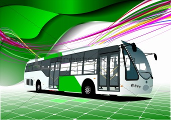 Abstract green background with bus images. Vector illustration