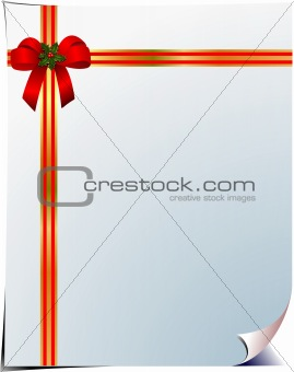 Blank  page with red corner bow. Vector illustration