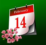 Valentine`s Day  calendar page. Vector illustration. Cover