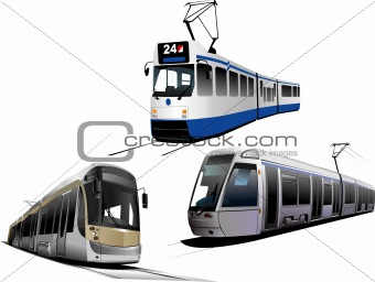 City transport. Three types of Tram. Vector illustration