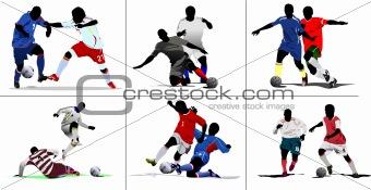 Six Soccer episodes. Colored Vector illustration for designers