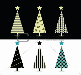 Black & white christmas tree design