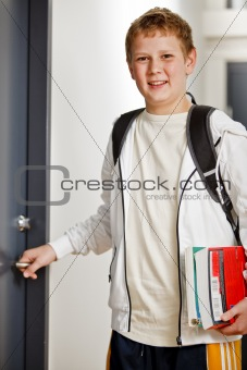 Boy on his way to class