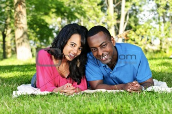 Happy couple in park