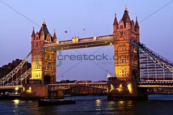 Tower bridge in London at dusk