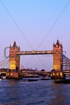 Tower bridge in London at dusk