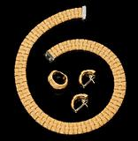 Set of earrings, ring and golden bracelet with diamonds
