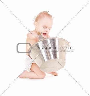 baby boy with wash-tub