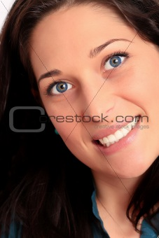 Attractive young woman closeup portrait