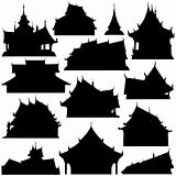 Temple building silhouettes