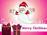 pink background with flying santa claus