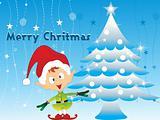 merry xmas background with tree, cartoon santa