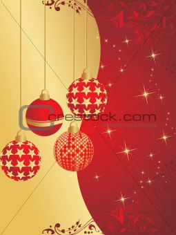 background with hanging xmas ball