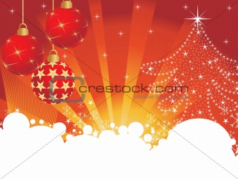 abstract background with hanging xmas ball; tree