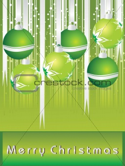 greem merry xmas background with hanging ball