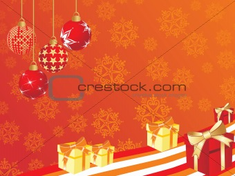 bloom pattern background with hanging bulb, gift