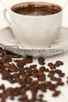 Cup from coffee and coffee grains