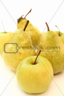 Apples and pears on a white background