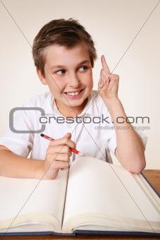 Brainchild schoolboy with idea