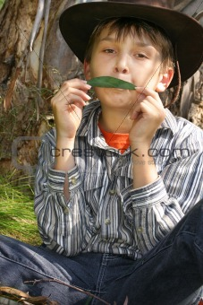 Green Music - A Boy playing gumleaf tune