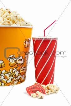 Popcorn bucket, tickets and soda
