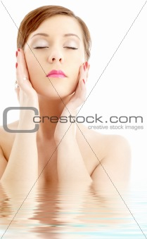 lovely woman washing face