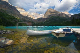 Aluminum canoe and a boat