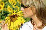Beautiful sunflower woman in the sun