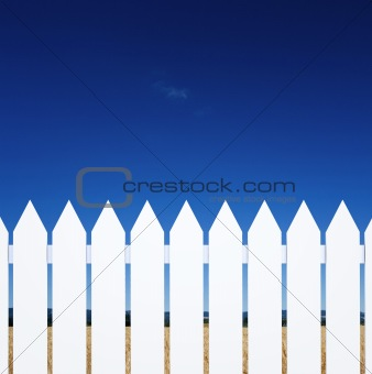 Clear sky over the fence