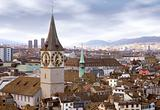 zurich skyline with tower clock