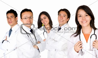 friendly young doctors team