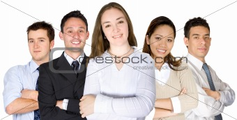 confident business woman and her team