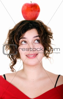 girl with an apple on her head
