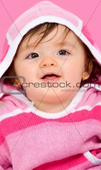 beautiful baby girl in pink