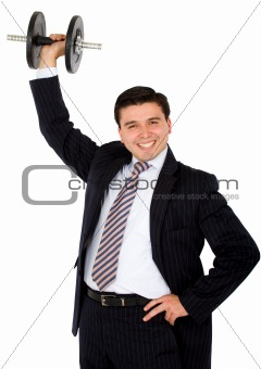 business man lifting weights